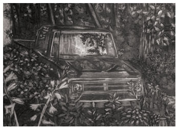 Charcoal study of old truck by Stacy Westervelt