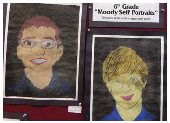 Moody self portrait tempera resist by students of Stacy Westervelt